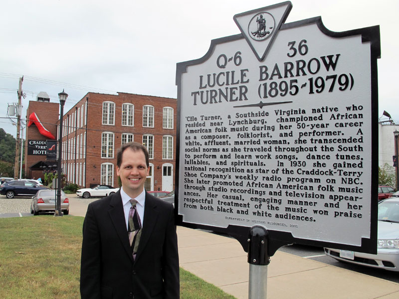 Bryan S. Wright beside the new 'Cile Turner state historical marker in Lynchburg, Virginia (15 September 2016)